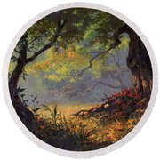 Autumn Shade Round Beach Towel
