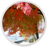 Autumn Sidewalk Round Beach Towel