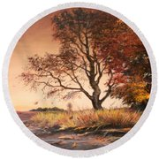 Autumn Simphony In France  Round Beach Towel by Sorin Apostolescu