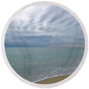 Autumn Clouds Round Beach Towel