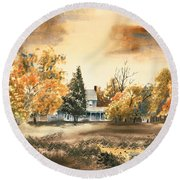 Round Beach Towel featuring the painting Autumn Sky No W103 by Kip DeVore