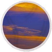 Autumn Sky Portrait Round Beach Towel