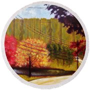 Autumn Slopes Round Beach Towel