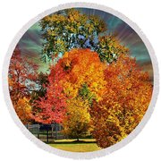 Autumn Splendor Round Beach Towel by Judy Palkimas