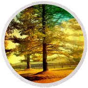 Autumn Stroll Round Beach Towel