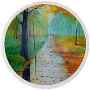 Round Beach Towel featuring the painting Autumn Stroll by Gary Smith