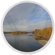 Autumn Sun At The River Round Beach Towel by Christina Verdgeline