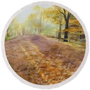 Autumn Sunday Morning Round Beach Towel