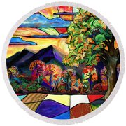 Autumn Sunrise Round Beach Towel by Everett Spruill