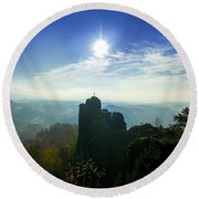 Autumn Sunrise In The Elbe Sandstone Mountains Round Beach Towel