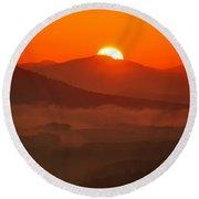 Autumn Sunrise On The Lilienstein Round Beach Towel