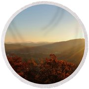 Round Beach Towel featuring the photograph Autumn Sunset by Kelly Nowak