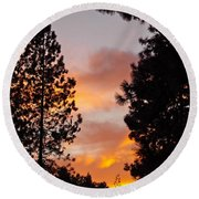 Autumn Sunset Round Beach Towel by Michele Myers