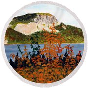 Round Beach Towel featuring the painting Autumn Sunset On The Hills by Barbara Griffin