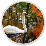 Autumn Swan Round Beach Towel by Lourry Legarde