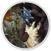 Round Beach Towel featuring the photograph Autumn Temperance River by James Peterson