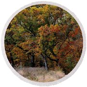 Autumn Trail 2 Round Beach Towel