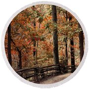 Autumn Trail Round Beach Towel