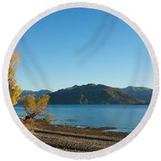 Round Beach Towel featuring the photograph Autumn Trees At Lake Wanaka by Stuart Litoff