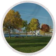 Autumn Trees Round Beach Towel by Jonah  Anderson