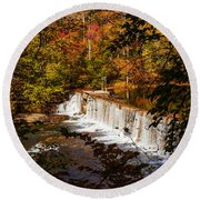 Autumn Trees On Duck River Round Beach Towel