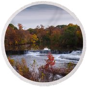 Round Beach Towel featuring the photograph Refreshing Waterfalls Autumn Trees On The Stones River Tennessee by Jerry Cowart