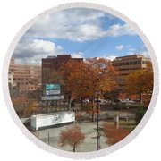 Round Beach Towel featuring the photograph Autumn View - Public Square by Christina Verdgeline