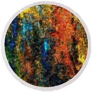 Round Beach Towel featuring the digital art Autumn Visions Remembered by David Lane