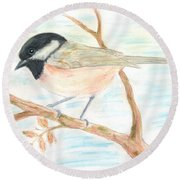 Round Beach Towel featuring the painting Autumn Visitor by Stephanie Grant