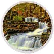 Autumn By The Waterfall Round Beach Towel