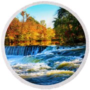 Amazing Autumn Flowing Waterfalls On The River  Round Beach Towel