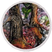 Round Beach Towel featuring the painting Autumn Woods by Sherry Shipley