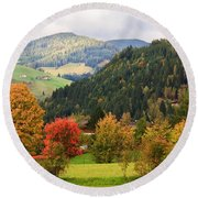 Autumnal Colours In Austria Round Beach Towel