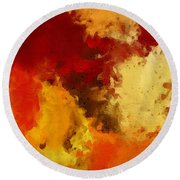 Autumn's Abstract Beauty Round Beach Towel