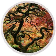 Autumn's Fire Round Beach Towel