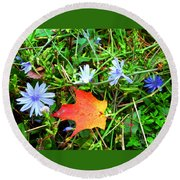 Round Beach Towel featuring the photograph Autumns First Leaf by Jackie Carpenter