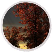 Autumn's First Light Round Beach Towel by James Eddy