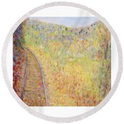 Autumns Maple Leaves And Train Tracks Round Beach Towel