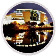Autzen At Night Round Beach Towel