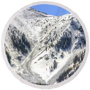 Avalanches In Colorado Round Beach Towel