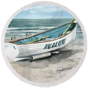 Avalon Lifeguard Boat  Round Beach Towel