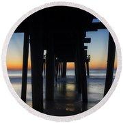 Avalon Nj Pier Round Beach Towel