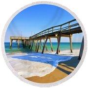 Avalon Pier Round Beach Towel