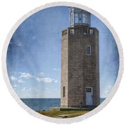 Avery Point Lighthouse Round Beach Towel