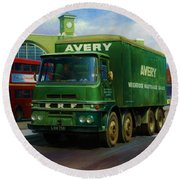 Round Beach Towel featuring the painting Avery's Erf Lv by Mike  Jeffries