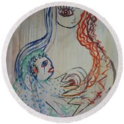 Round Beach Towel featuring the painting Avi's Madonna by Avonelle Kelsey