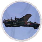 Avro 638 Lancaster At The Royal International Air Tattoo Round Beach Towel