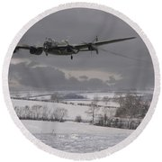 Avro Lancaster - Limping Home Round Beach Towel