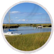 Round Beach Towel featuring the photograph Awaiting Adventure by Gordon Elwell