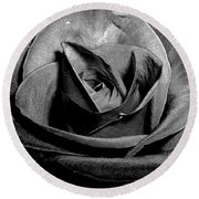 Awakened Black Rose Round Beach Towel